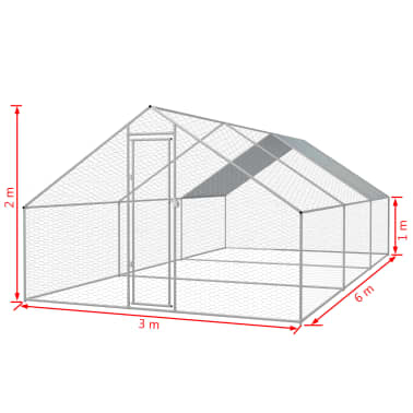 vidaXL Zunanji kokošnjak iz pocinkanega jekla 3x6x2 m[5/5]