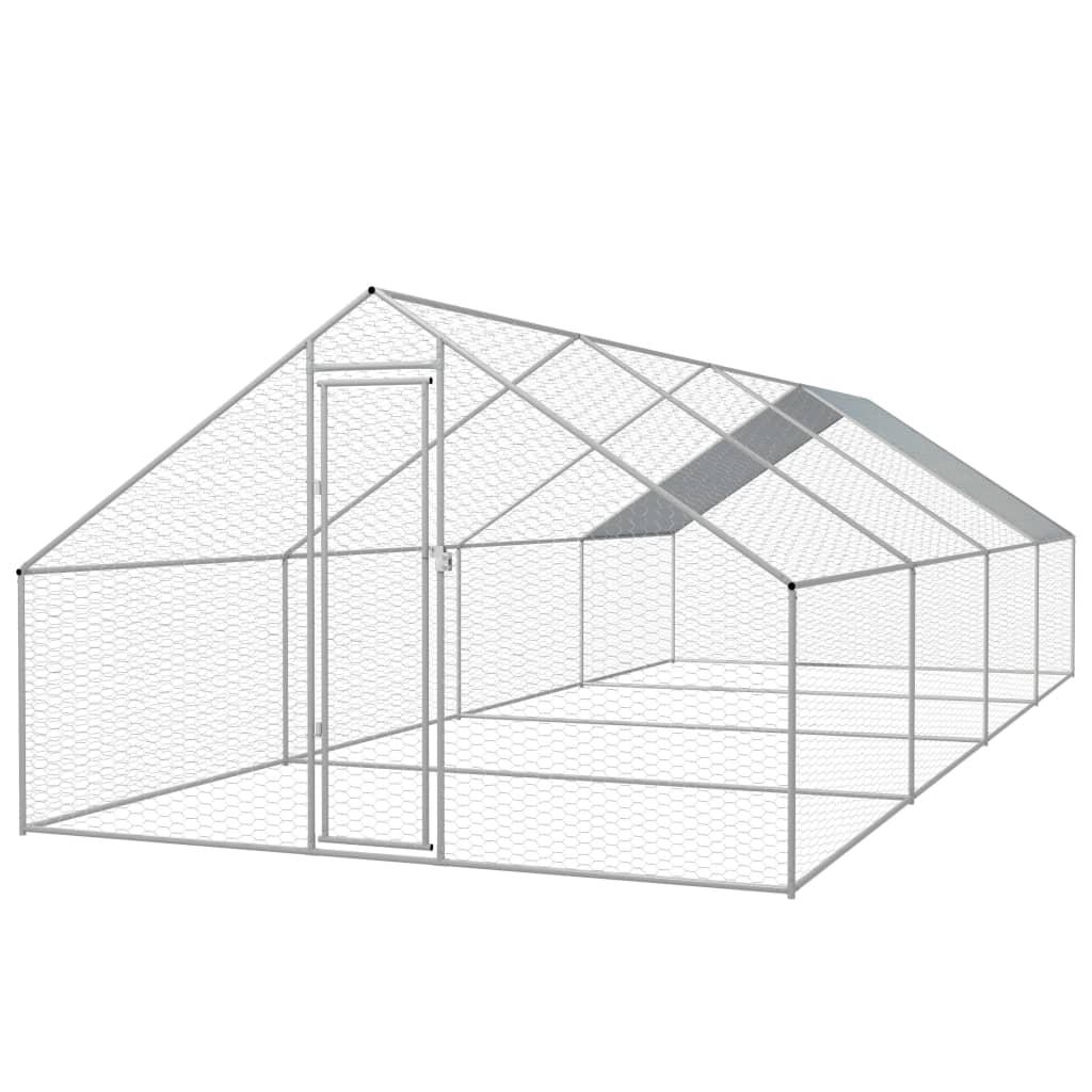 vidaXL Coteț păsări de exterior, oțel galvanizat 3x8x2 m vidaxl.ro