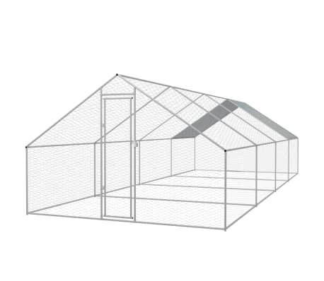 "vidaXL Outdoor Chicken Cage Galvanized Steel 9'10""x26'2""x6'6""[1/5]"
