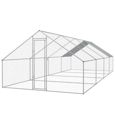 vidaXL Outdoor Chicken Cage Galvanized Steel 9