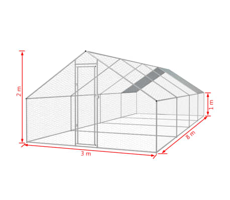 "vidaXL Outdoor Chicken Cage Galvanized Steel 9'10""x26'2""x6'6""[5/5]"
