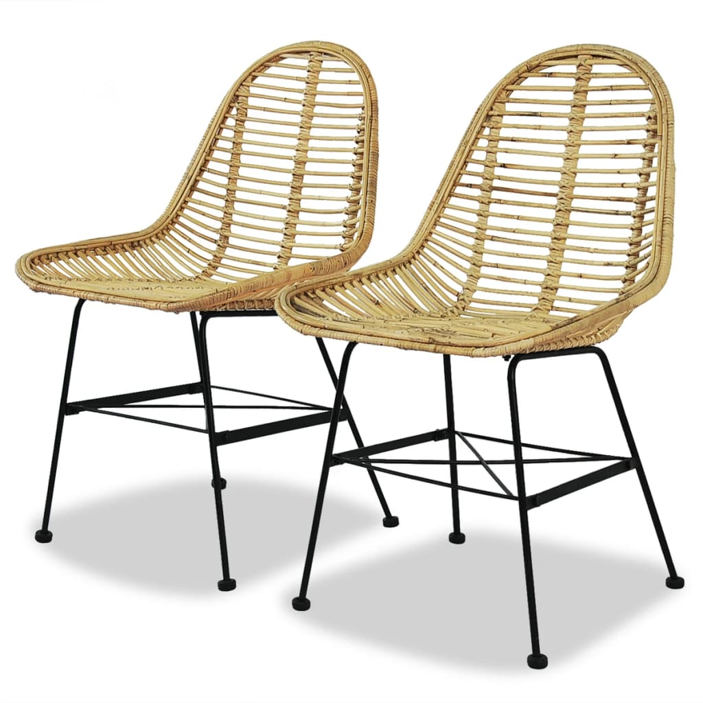 vidaXL Καρέκλες Τραπεζαρίας 2 τεμ. από Γνήσιο Ρατάν