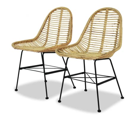 vidaXL Dining Chairs 2 pcs Natural Rattan