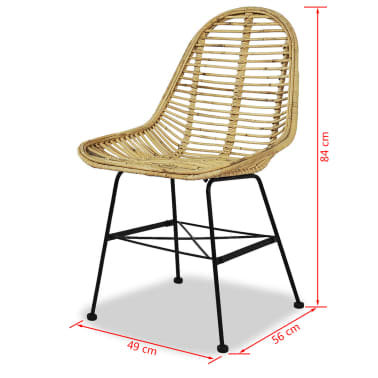 vidaXL Dining Chairs 2 pcs Natural Rattan[5/5]