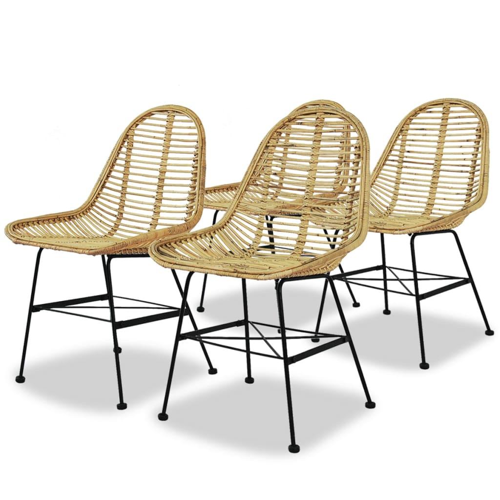 vidaXL Καρέκλες Τραπεζαρίας 4 τεμ. από Γνήσιο Ρατάν