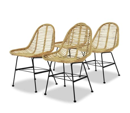 vidaXL Dining Chairs 4 pcs Natural Rattan[1/5]