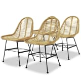 vidaXL Dining Chairs 4 pcs Natural Rattan