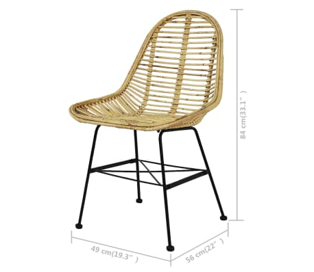 vidaXL Dining Chairs 4 pcs Natural Rattan[5/5]
