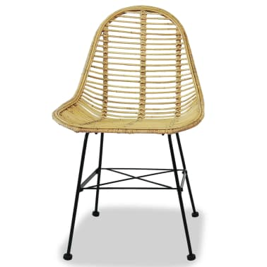 vidaXL Dining Chairs 4 pcs Natural Rattan[2/5]