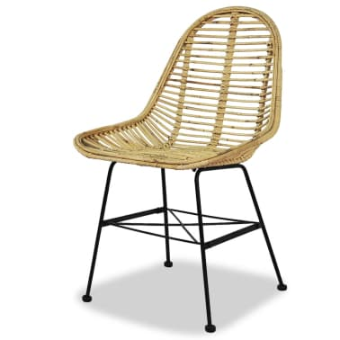 vidaXL Dining Chairs 4 pcs Natural Rattan[3/5]