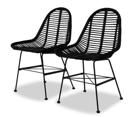 vidaXL Трапезни столове, 2 бр, черни, естествен ратан