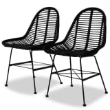 vidaXL Dining Chairs 2 pcs Black Natural Rattan