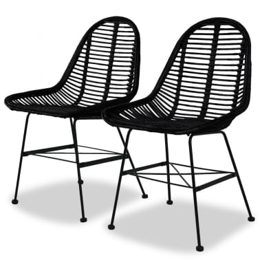 vidaXL Dining Chairs 2 pcs Natural Rattan Black[1/5]