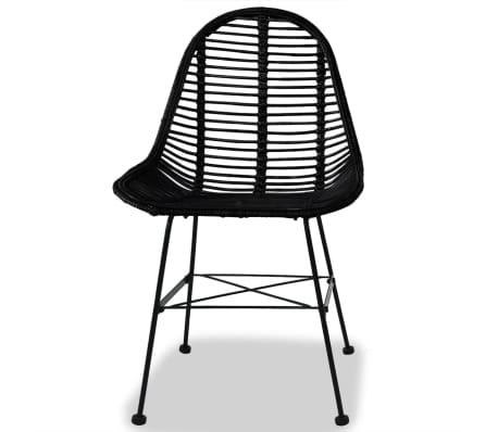 vidaXL Dining Chairs 2 pcs Natural Rattan Black[2/5]