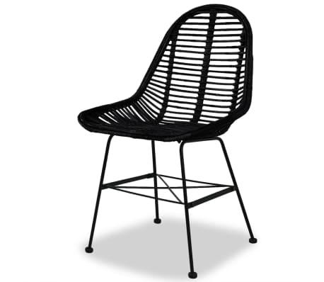 vidaXL Dining Chairs 2 pcs Natural Rattan Black[3/5]