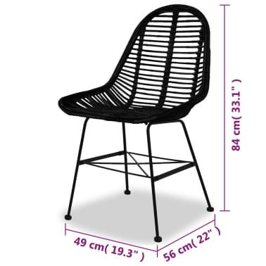 vidaXL Dining Chairs 2 pcs Natural Rattan Black[5/5]