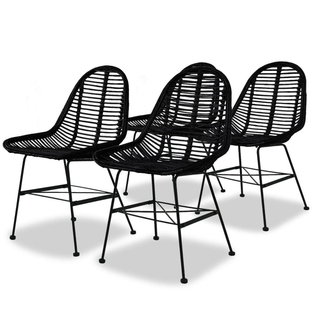 vidaXL Καρέκλες Τραπεζαρίας 4 τεμ. Μαύρες από Γνήσιο Ρατάν