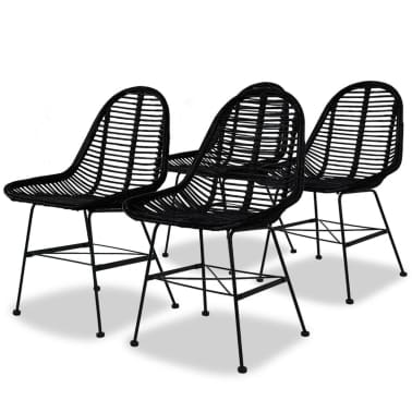 vidaXL Dining Chairs 4 pcs Natural Rattan Black[1/5]