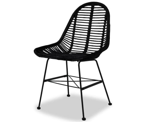 vidaXL Dining Chairs 4 pcs Natural Rattan Black[3/5]