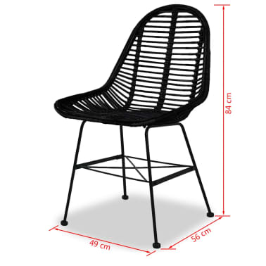 vidaXL Dining Chairs 4 pcs Natural Rattan Black[5/5]