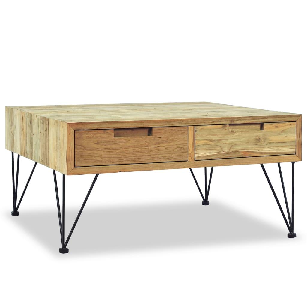 vidaXL Stolik kawowy, 80 x 80 x 40 cm, lite drewno tekowe
