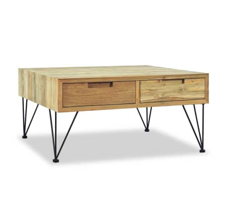 vidaXL Table basse 80 x 80 x 40 cm Teck massif