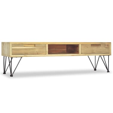 vidaxl tv schrank 120 x 35 x 35 cm teak massiv g nstig kaufen. Black Bedroom Furniture Sets. Home Design Ideas