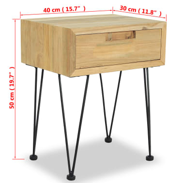 vidaXL Nočný stolík z teakového dreva, 40x30x50 cm[9/9]