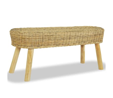 vidaXL Hall Bench 110x35x45 cm Natural Rattan[1/5]