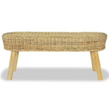vidaXL Hall Bench 110x35x45 cm Natural Rattan[2/5]