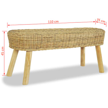 vidaXL Hall Bench 110x35x45 cm Natural Rattan[5/5]