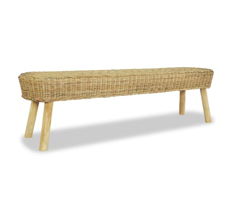 "vidaXL Hall Bench 63""x13.8""x17.7"" Natural Rattan"