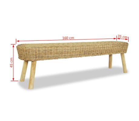 vidaXL Klupa za Predsoblje 160x35x45 cm Prirodni Ratan[5/5]