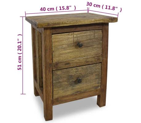 """vidaXL Nightstand Solid Reclaimed Wood 15.7""""x11.8""""x20.1""""[7/7]"""