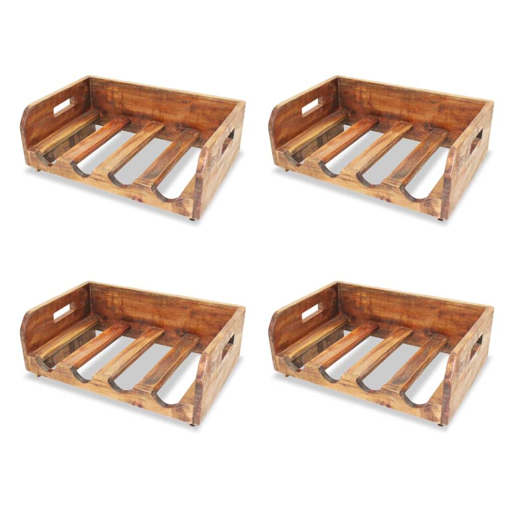 Fabriquer Casier À Bouteilles En Bois casier à bouteilles 4 pcs pour 16 bouteilles bois recyclé