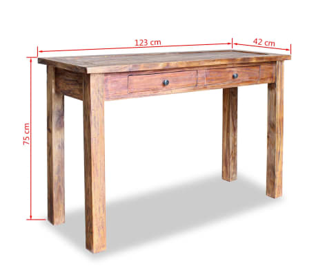 "vidaXL Console Table Solid Reclaimed Wood 48.4""x16.5""x29.5""[5/5]"