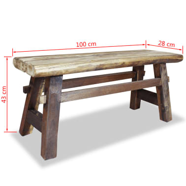 "vidaXL Bench Solid Reclaimed Wood 39.4""x11""x16.9""[4/4]"