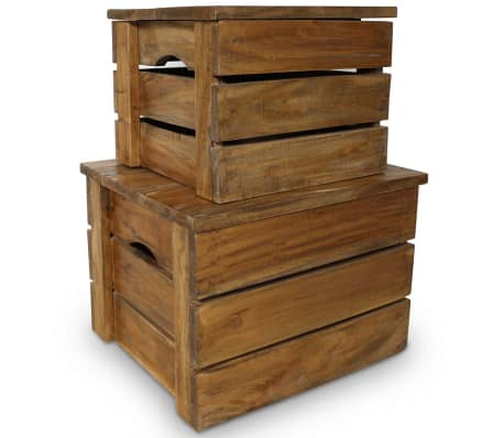 vidaXL Storage Crate Set 2 Pieces Solid Reclaimed Wood[1/7]