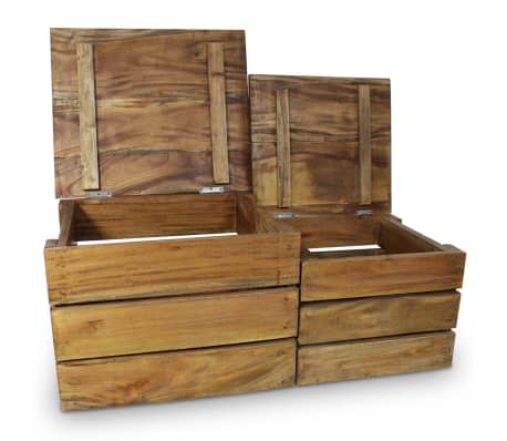 vidaXL Storage Crate Set 2 Pieces Solid Reclaimed Wood[2/7]