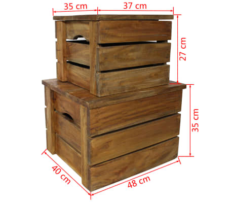 vidaXL Storage Crate Set 2 Pieces Solid Reclaimed Wood[7/7]