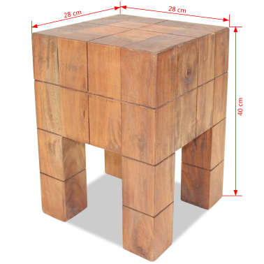 "vidaXL Stool Solid Reclaimed Wood 11""x11""x15.7""[5/5]"