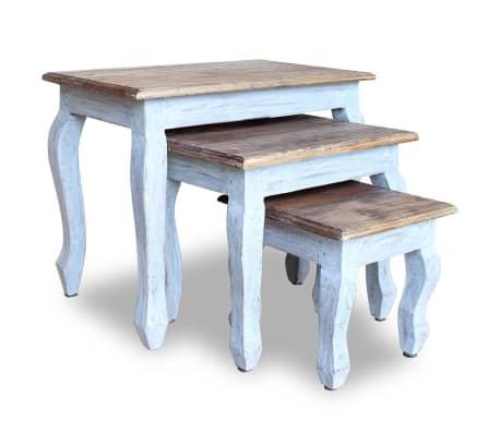 vidaXL Sustumiamų staliukų kompl., 3d., masyvi perdirbta mediena[1/9]