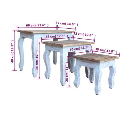 vidaXL Sustumiamų staliukų kompl., 3d., masyvi perdirbta mediena[9/9]