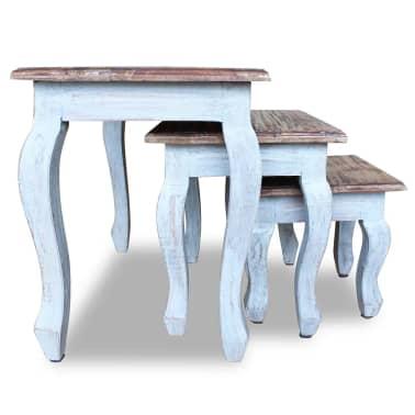 vidaXL Sustumiamų staliukų kompl., 3d., masyvi perdirbta mediena[2/9]