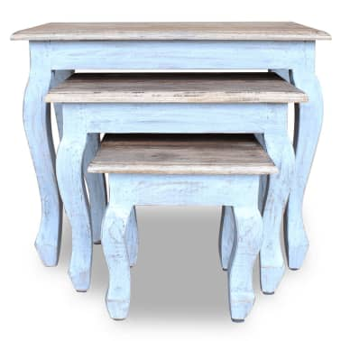 vidaXL Sustumiamų staliukų kompl., 3d., masyvi perdirbta mediena[3/9]