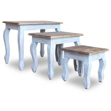 vidaXL Sustumiamų staliukų kompl., 3d., masyvi perdirbta mediena[4/9]