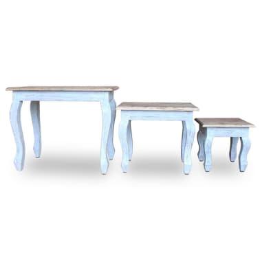 vidaXL Sustumiamų staliukų kompl., 3d., masyvi perdirbta mediena[5/9]