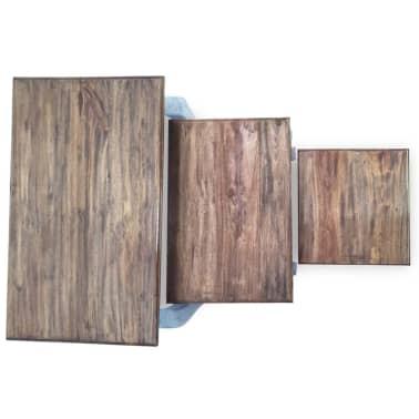 vidaXL Sustumiamų staliukų kompl., 3d., masyvi perdirbta mediena[7/9]