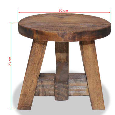 "vidaXL Stool Solid Reclaimed Wood 7.9""x7.9""x9.1""[3/3]"
