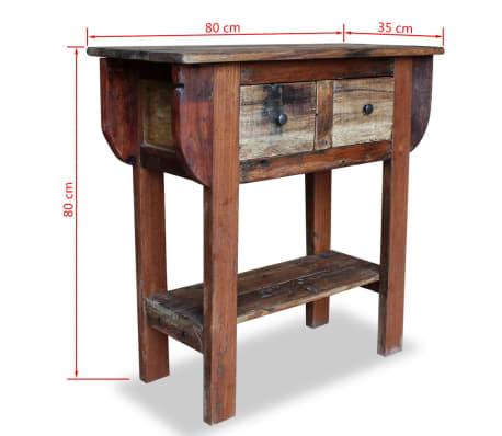 vidaXL Konsolinis staliukas, masyvi perdirbta mediena, 80x35x80cm[5/5]